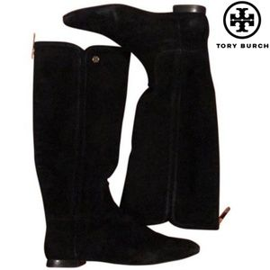 Tory Burch Black Suede Irene Tall Boots 6.5